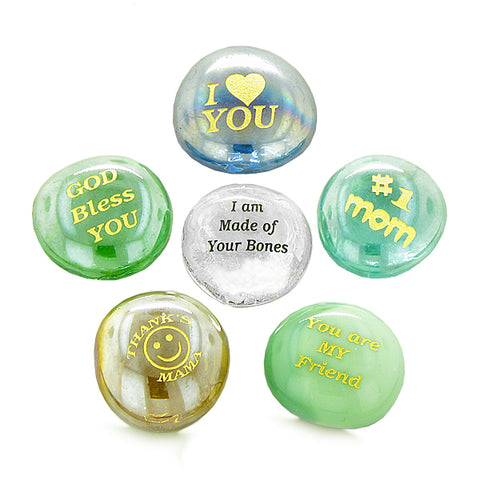 Inspirational Amulets The Best Number #1 Mom Ever AppreciatiLucky Charms Glass Engraved Stones