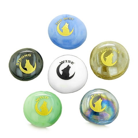 Inspirational Amulets Howling Wolf Moon Bravery, Courage and Magic Powers Glass Engraved Stones Set