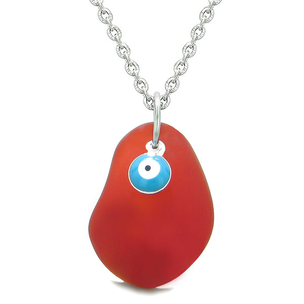 Handcrafted Sea Glass Royal Red Amulet Evil Eye Protection Lucky Charm Magic Powers 18 Inch Necklace
