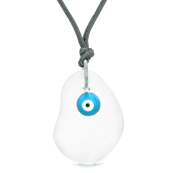 Handcrafted Sea Glass Mist White Amulet Evil Eye Protection Lucky Charm Magic Powers Adjustable Necklace