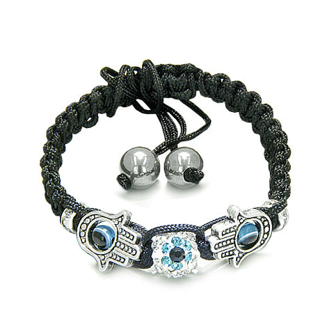 Evil Eye Protection Amulet Magic Eye Hamsa Hands Black Knotted Cord Bracelet Hematite Power Beads