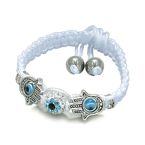 Evil Eye Protection Amulet Magic Eye Hamsa Hands White Knotted Cord Bracelet Hematite Power Beads