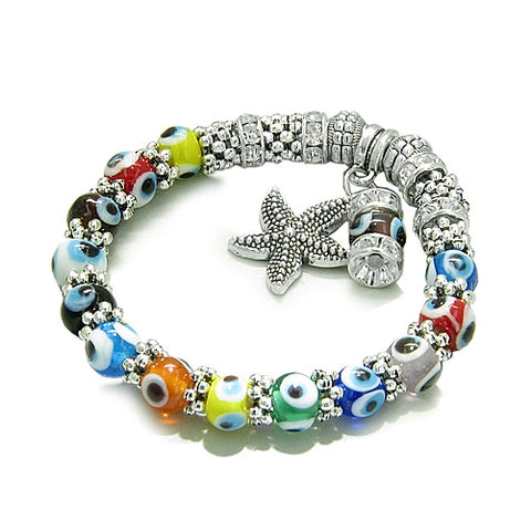 Amulet Evil Eye Protection Sea Star Dangling Charm Multicolor Eye Beads Swarovski Elements Beads