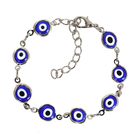 Evil Eye Protection Amulet Royal Blue Eye Beads Silver-Tone Lucky Charms Bracelet