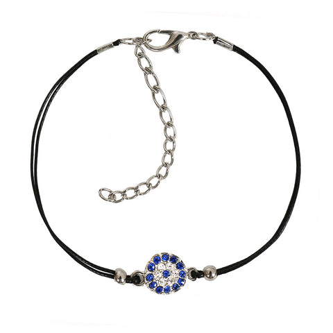 Evil Eye Protection Amulet Magical Powers Silver-Tone Sparkling Royal Blue Crystal Elegant Bracelet