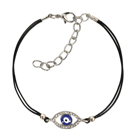 Evil Eye Protection Amulet Magical Powers Silver-Tone Sparkling Snow White Crystal Elegant Bracelet