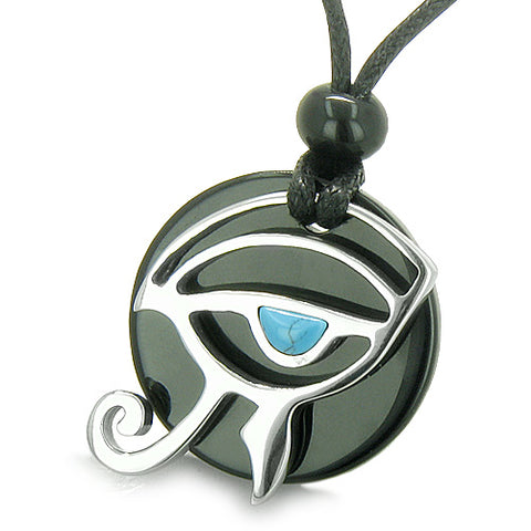 Amulets Couples Eye of Horus All Seeing Egyptian Yin Yang Onyx White Jade Turquoise Necklaces