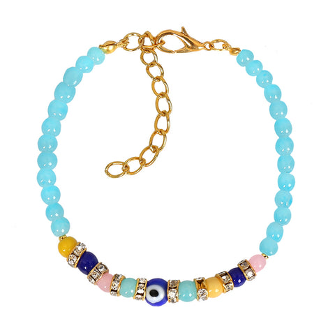 Evil Eye Protection Amulet Sky Blue and Colorful Crystals Accents Magic Powers Lucky Charm Bracelet