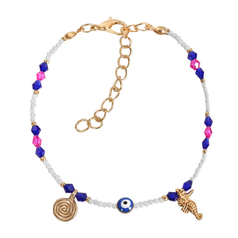 Evil Eye Protection Amulet Blue Pink White Accents Sea Horse Magical Symbols Lucky Charms Bracelet