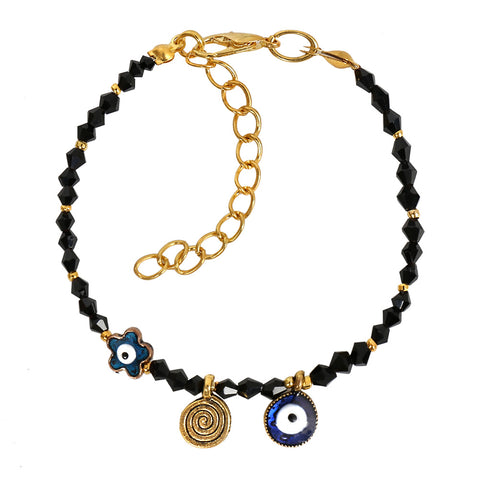 Evil Eye Protection Star Amulet Royal Black Accents Magic Power Symbol Lucky Charms Bracelet