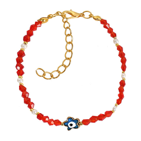 Evil Eye Protection Blue Star Amulet Royal Red White Accents Magic Symbol Lucky Charms Bracelet