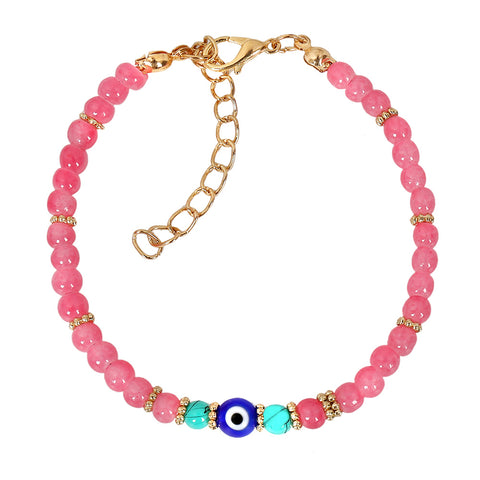 Evil Eye Protection Amulet Simulated Turquoise Royal Pink Accents Magic Power Lucky Charm Bracelet
