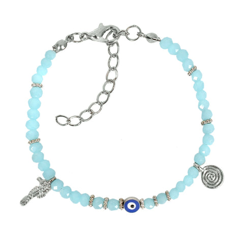 Evil Eye Protection Amulet Royal Sky Blue Accents Sea Horse Magical Symbols Lucky Charms Bracelet