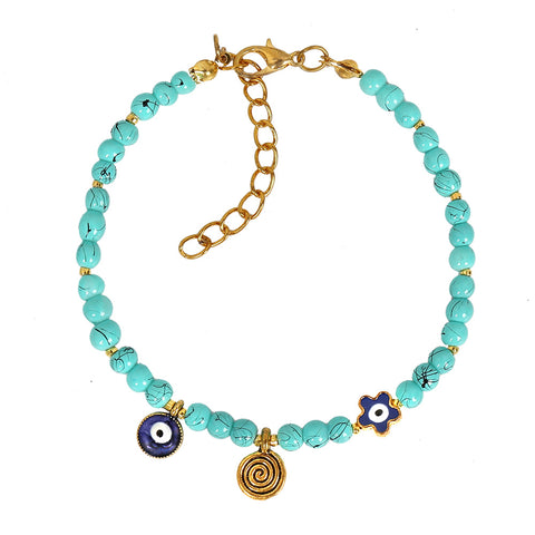 Evil Eye Protection Star Amulet Simulated Turquoise Accents Magic Symbol Lucky Charms Bracelet