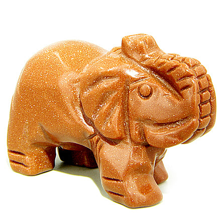 Good Luck Talisman Goldstone Elephant Gemstone Carving