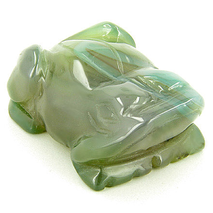 Good Luck Talisman Frog Totem in Green Agate Gemstone Carving