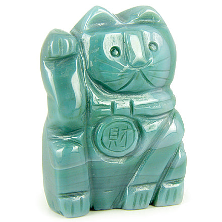 Good Luck Talisman Green Agate Lucky Cat Gemstone Carving
