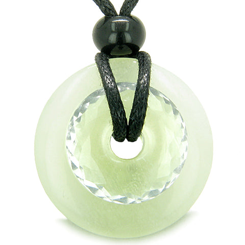 Amulet Individual Magic Circles Double Lucky Donuts Green Jade Faceted Rock Quartz Pendant Necklace