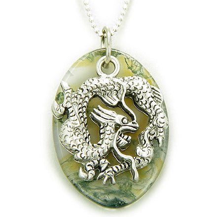 Fortune Protection Dragon Moss Agate Amulet on Silver Necklace