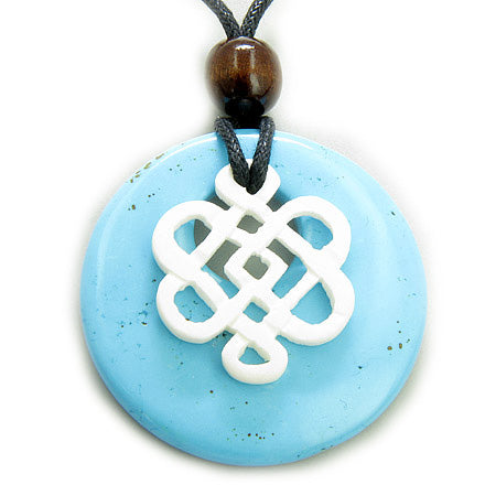 Amulet Protection Bone and Turquoise Celtic Shield Knot Necklace