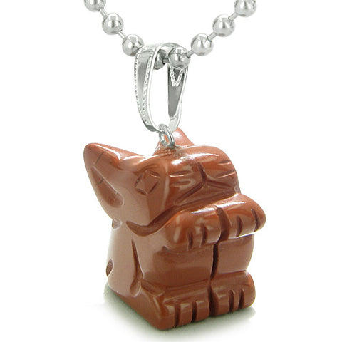 Amulet Lucky Charm Rabbit Totem Red Jasper Gemstone Good Luck Believe Powers Pendant Necklace