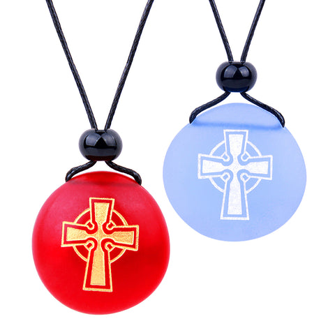 Frosted Sea Glass Stones Ancient Viking Celtic Cross Love Couples BFF Amulets Sky Blue Red Necklaces