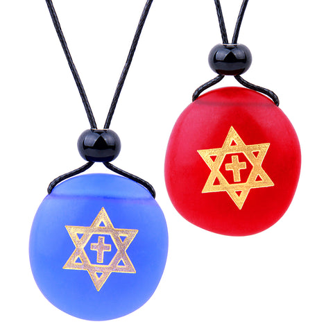 Frosted Sea Glass Stones Star of David and Cross Love Couples BFF Set Amulets Royal Blue Red Necklaces