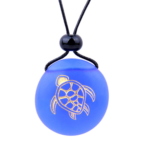 Amulet Frosted Sea Glass Stone Adorable Magic Turtle Good Luck Powers Royal Blue Adjustable Necklace