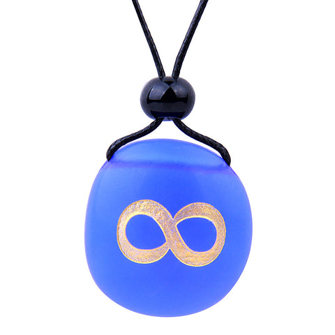 Amulet Frosted Sea Glass Stone Infinity Eternity Energy Good Luck Powers Royal Blue Adjustable Necklace