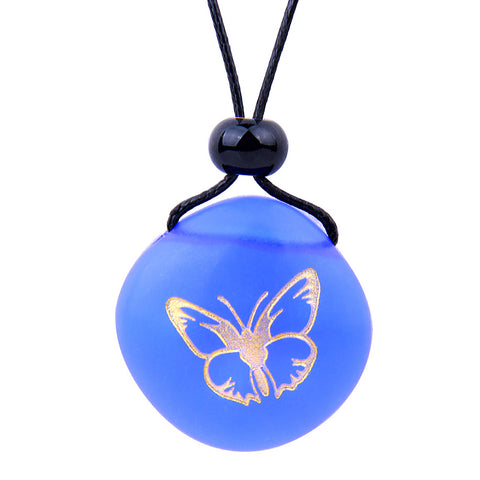 Amulet Frosted Sea Glass Stone Adorable Lucky Butterfly Good Luck Powers Royal Blue Adjustable Necklace