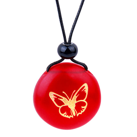 Amulet Frosted Sea Glass Stone Adorable Lucky Butterfly Good Luck Powers Royal Red Adjustable Necklace