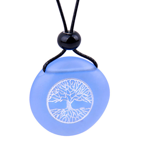 Amulet Frosted Sea Glass Stone Celtic Magic Tree of Life Good Luck Powers Sky Blue Adjustable Necklace