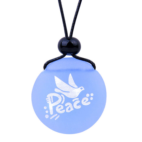 Amulet Frosted Sea Glass Stone Adorable Dove Peace Pigeon Good Luck Powers Sky Blue Adjustable Necklace