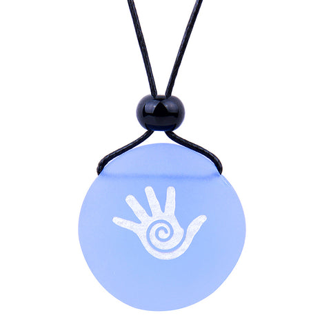 Amulet Frosted Sea Glass Stone Buddha Magic Energy Hand Good Luck Powers Sky Blue Adjustable Necklace