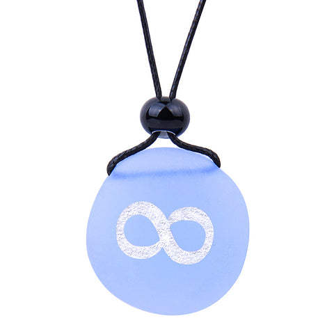 Amulet Frosted Sea Glass Stone Infinity Eternity Energy Good Luck Powers Sky Blue Adjustable Necklace