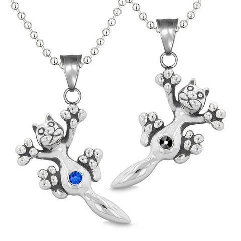 Amulets Cute Kitty Cat Love Couples or Best Friends Set Blue Black Sparkling Crystals Necklaces