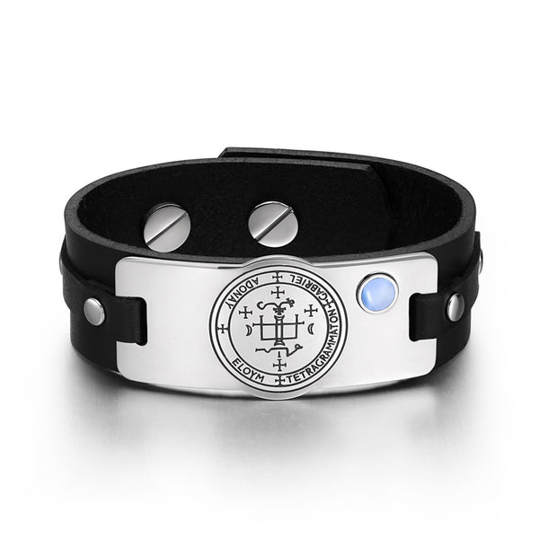 Archangel Gabriel Sigil Magic Powers Amulet Blue Simulated Cats Eye Black Leather Bracelet