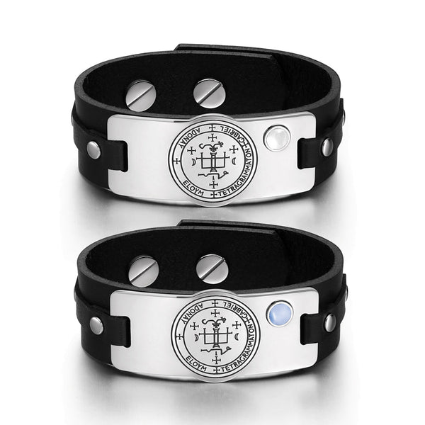 Archangel Gabriel Sigil Love Couples White Blue Simulated Cats Eye Amulet Black Leather Bracelets