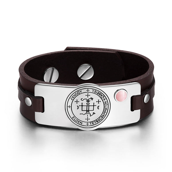 Archangel Gabriel Sigil Magic Powers Amulet Pink Simulated Cats Eye Brown Leather Bracelet