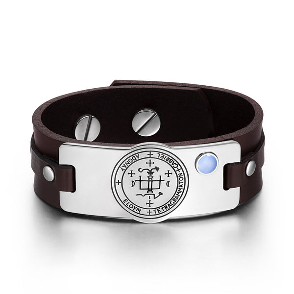 Archangel Gabriel Sigil Magic Powers Amulet Blue Simulated Cats Eye Brown Leather Bracelet