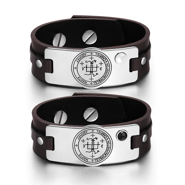 Archangel Gabriel Sigil Love Couples White Simulated Cat Eye Simulated Onyx Brown Leather Bracelets