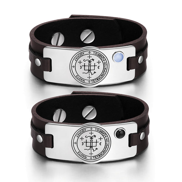 Archangel Gabriel Sigil Love Couples Blue Simulated Cats Eye Simulated Onyx Brown Leather Bracelets