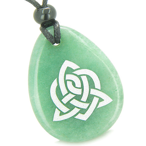 Amulet Triple Magic Energy Celtic Triquetra Shield Knot Good Luck Aventurine Totem Pendant Necklace