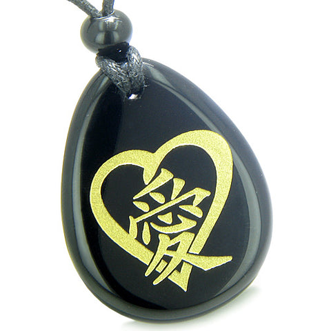 Amulets Hearts Love Energy Kanji Magic Couples or Best Friends Agate Black Onyx Totem Necklaces