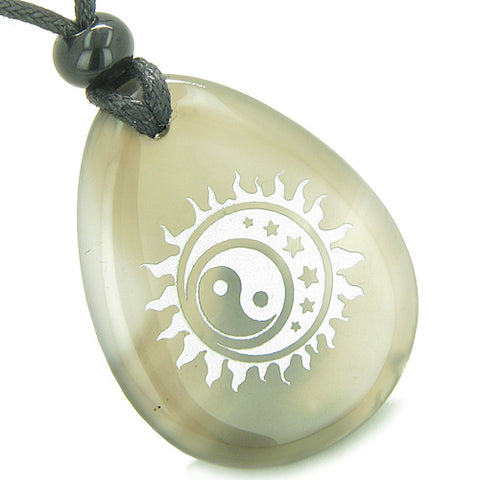 Amulet Positive Energy Magic Earth Yin Yang Powers Sun Moon Stars Agate Totem Pendant Necklace
