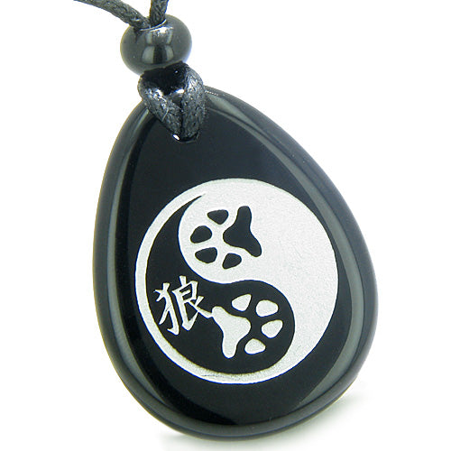 Amulets Wolf Paw Yin Yang Magic Kanji Balance Couples or Best Friends Agate Onyx Gemstone Necklaces