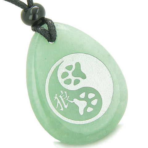 Amulet Wolf Paw Yin Yang Magic Kanji Good Luck Powers Green Aventurine Totem Stone Pendant Necklace