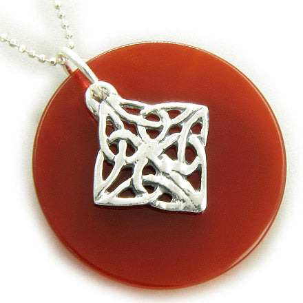 Protection Celtic Shield Knot Circle Carnelian Silver Necklace
