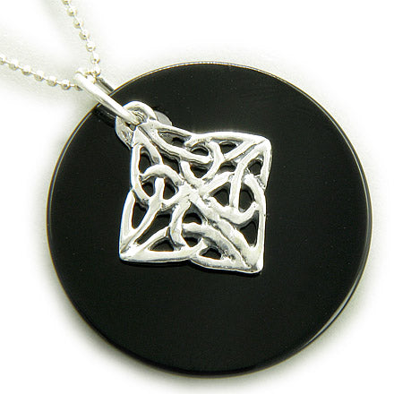 Protection Celtic Shield Knot Spiritual Circle Silver Necklace