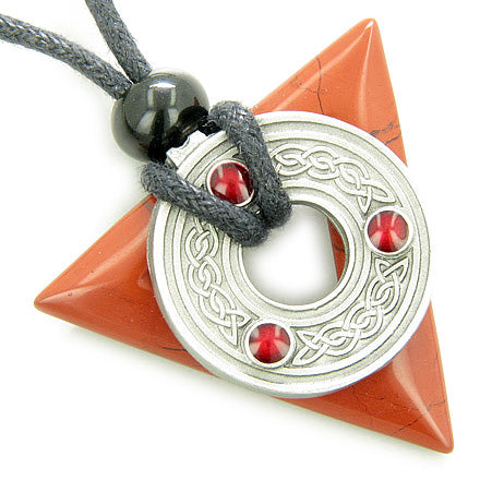 Amulet Triangle Protection Celtic Triquetra Red Jasper Necklace
